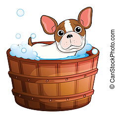 A cute little dog taking a bath - Illustration of a cute...