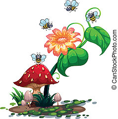 Bees roaming around the plant with a flower - Illustration...
