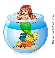 An aquarium with a mermaid