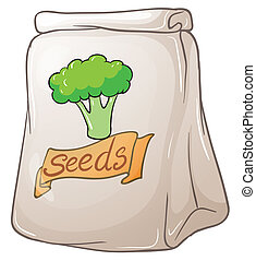 A pack of broccoli seeds - Illustration of a pack of...