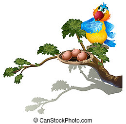 A parrot watching the eggs in the nest - Illustration of a...
