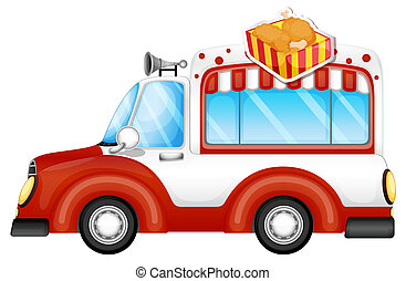 A vehicle selling chicken legs - Illustration of a vehicle...