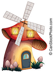 A mushroom house with a windmill - Illustration of a...