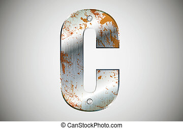 Metal letters of the alphabet surface, polished, chrome