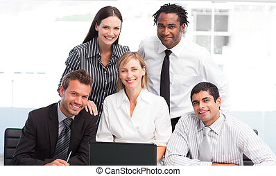 Business team together in an office - International business...