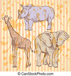 Sketch giraffe, elephant, rhino, vector background - Sketch...