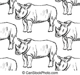Sketch wild rhino, vector seamless pattern - Sketch wild...