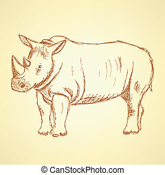 Sketch rhino, vector vintage background eps 10