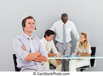 Businessman with a headset on