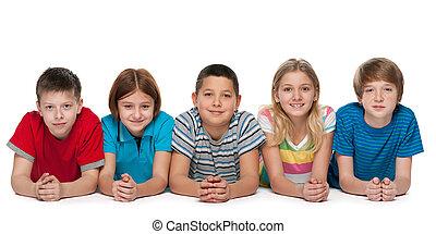 Group of five happy children