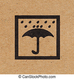 Keep dry icon on paper box background