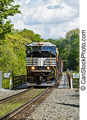 Crossing The Railroad Trestle - Train Crossing The Railroad...