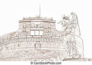 Castel Sant Angelo Rome Italy - graphic of the Castel Sant...