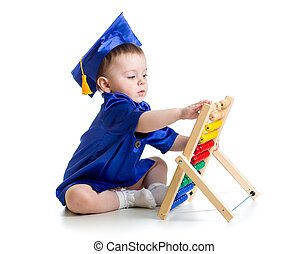 baby with academic clothes playing abacus