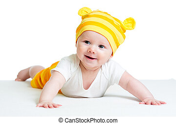 baby in funny hat isolated on white background