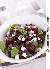 salad with beet and feta cheese