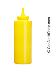 Mustard bottle isolated on a white background