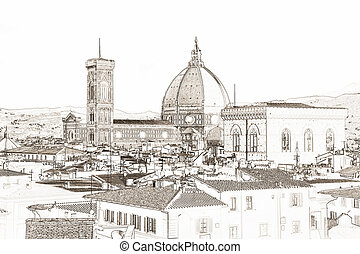Florence Cathedral Italy - graphic of the Florence...