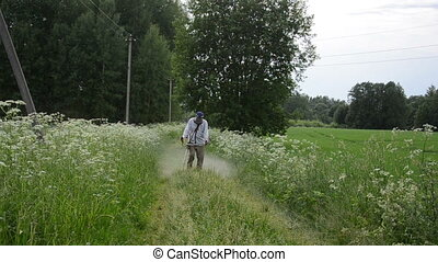 gardener cut grass - BIRZAI, LITHUANIA - June 10: Gardener...