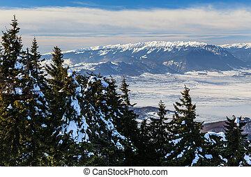 Piatra Craiului Mountains - winter landscape in Piatra...