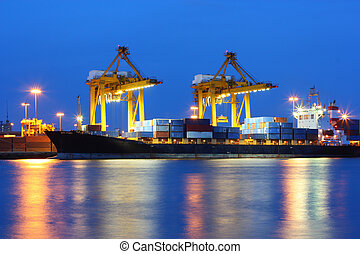 Industrial shipping port on sunset in Bangkok, Thailand