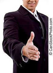 side view of smiling businessman offering hand shake