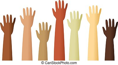 raised hands - A group of mixed race raised hands.