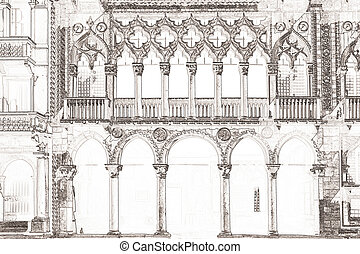 Ca d Oro Venice Italy - graphic of the palazzo Ca d Oro in...