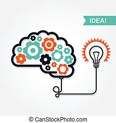 Business idea or invention icon - brain with gear wheel and...