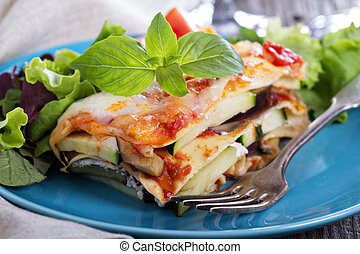 Vegetable lasagna with zucchini, tomato and eggplant