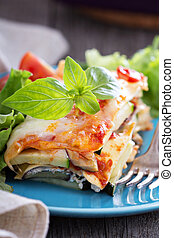 Vegetable lasagna with zucchini, tomato and eggplant
