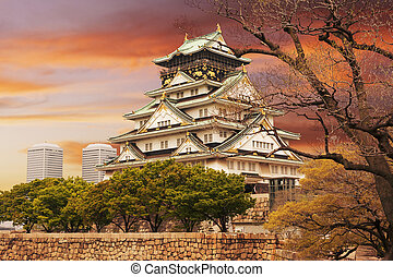 Osaka castle, one of the famous castle in Japan, Asia