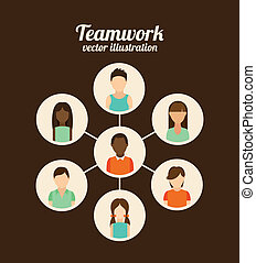 Teamwork design over brown background, vector illustration