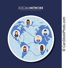 Social network design over blue background, vector...