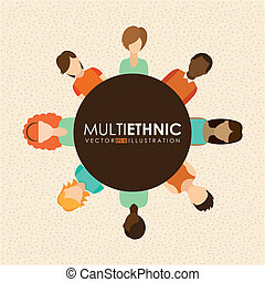 Multiethnic design over beige background, vector...