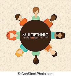 Multiethnic design over beige background, vector...