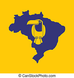 Brazil design over yellow background, vector illustration