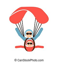 Paragliding design over white background, vector...