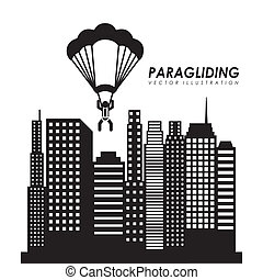 Paragliding design over cityscape background, vector...