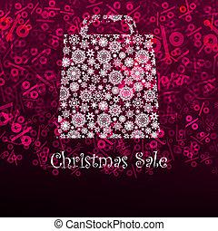 Christmas sa;e card with shopping bag EPS 8 vector file...