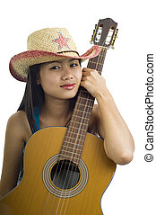 Asian guitar girl - Young asian woman with an accustic...