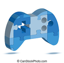 game icon in puzzle - EPS 10 Vector Illustration of game...