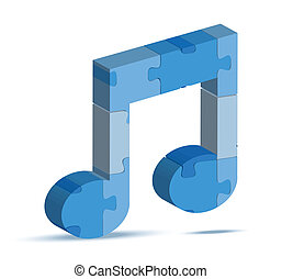music icon in puzzle - EPS 10 Vector Illustration of music...