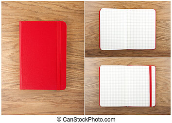 Set of red open and closed notebooks on the table.