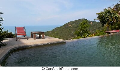 Beautiful Seascape Panorama from Swimming Pool in Luxurious...