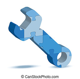 tool icon in puzzle - EPS 10 Vector Illustration of tool...