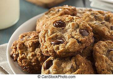 Homemade Chocolate Chip Cookies with White Milk