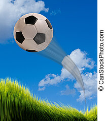 Soccer ball flying - Fast soccer ball flying