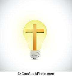 cross and light bulb illustration design over a white...