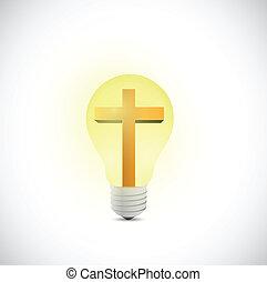 cross and light bulb illustration design over a white...